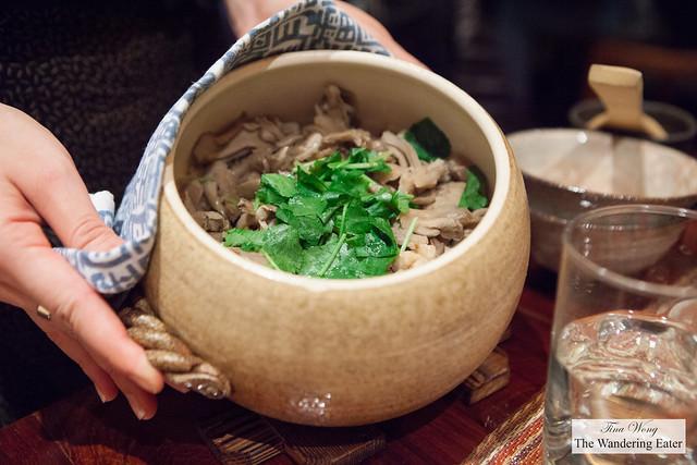 Showing our pot of Maitake mushroom and Jidori Kamadaki rice