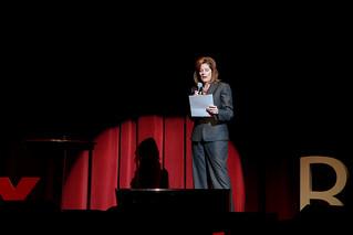 Cindy Roth introducing speaker at TEDxRiverside