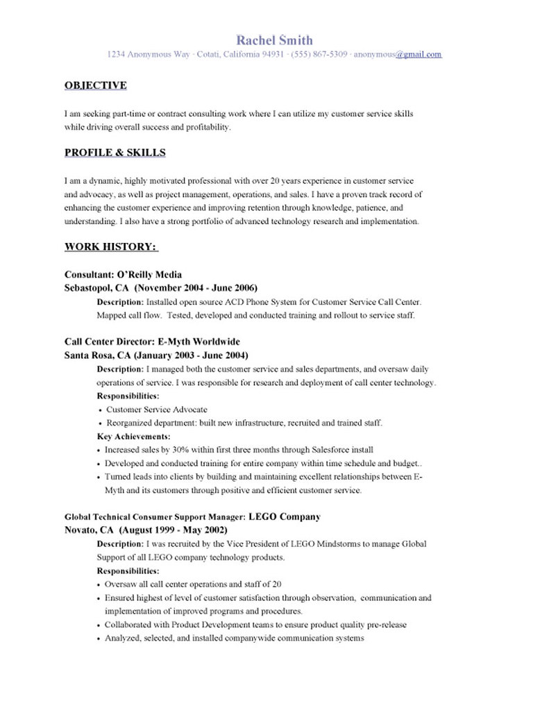 Customer Service Objective Resume Allresumetemplates Net 8 Flickr