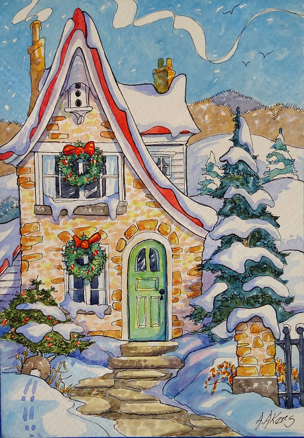 Original painting from my Storybook Cottage Series Sunny after the Snow