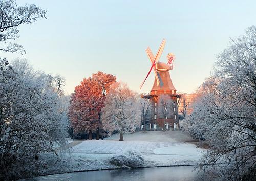 windmill bremen germany snow frost water sunrise city fujifilm fuji x