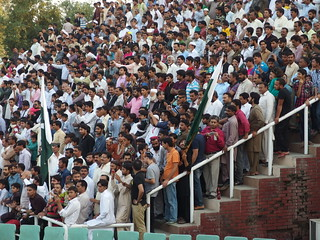 """Men @ Spectators @ """"Lowering of the flag"""" ceremony @ Wagah Border @ Pakistan 
