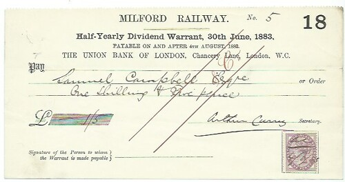 Milford Railway Dividend Warrant 1883 | by ian.dinmore