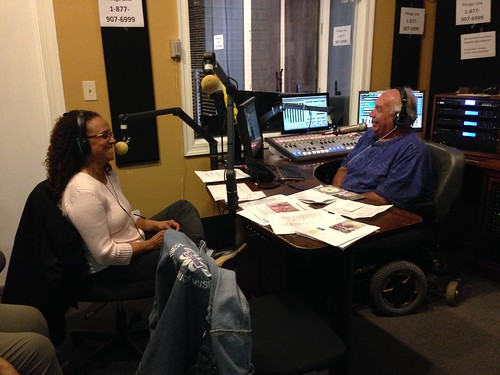 Pitching on air with Jelly Roll Justice during WWOZ Pledge Drive.  Photo by Carrie Booher.
