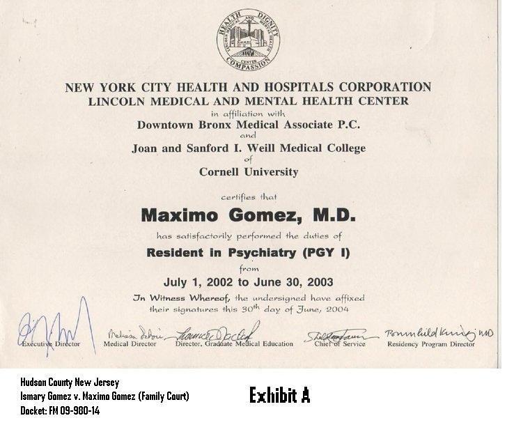 10202014 Exhibit 029 Medical Certificate Dr  Maximo Gomez