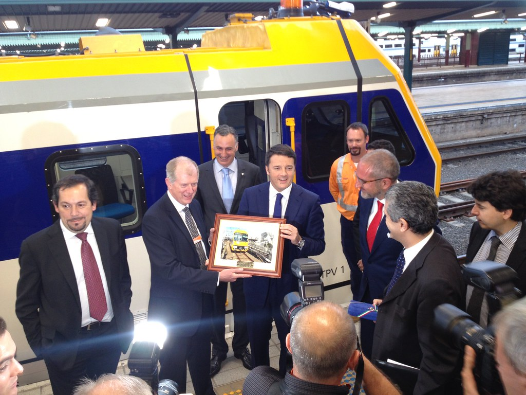 Italian Prime Minister Matteo Renzi checking out his country's export (Mechanised Track Patrol vehicles) at Central station Sunday 16 November. Sydney Trains CEO then exchanged gifts with the PM afterwards. The PM had just flown down from Brisbane G20 by Robert  Parnell