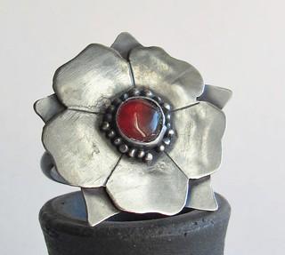 Tudor Rose Ring with Carnelian