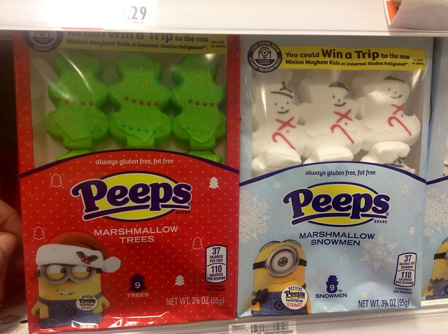 Minion Peeps for Christmas 11/2014, pic by Mike Mozart of TheToyChannel and JeepersMedia on YouTube. #Minion #Peeps