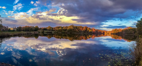 travel trees sunset shadow sky panorama cloud lake color fall nature water forest landscape photography md maryland greenbelt iphone 美国 马里兰 iphonephotography iphone5s 格林贝尔特