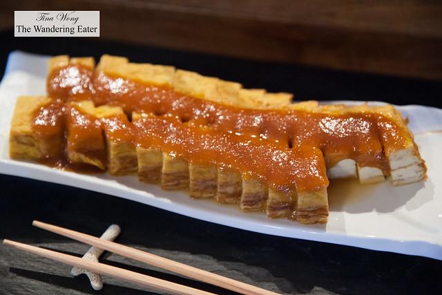 Japanese rolled omelet oil miso dengaku at Gusuku's breakfast