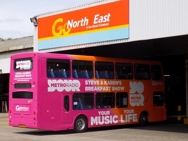 Go North East 6133 'Metro Radio' Scania OmniDekka at Saltmeadows Depot