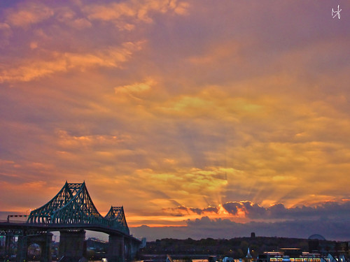 city bridge autumn sky fall clouds photoshop sunrise montreal fujifilm hdr 2014 jacquescartierbridge brunolaliberté