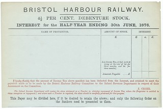 Bristol Harbour Railway blank interest warrant 1876 | by ian.dinmore