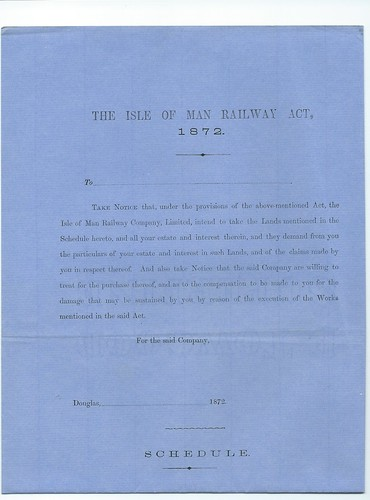Isle of Man Railway Notice to Treat 1872 | by ian.dinmore