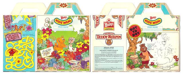 1987 Wendy's Kids' Meal Box Teddy Ruxpin