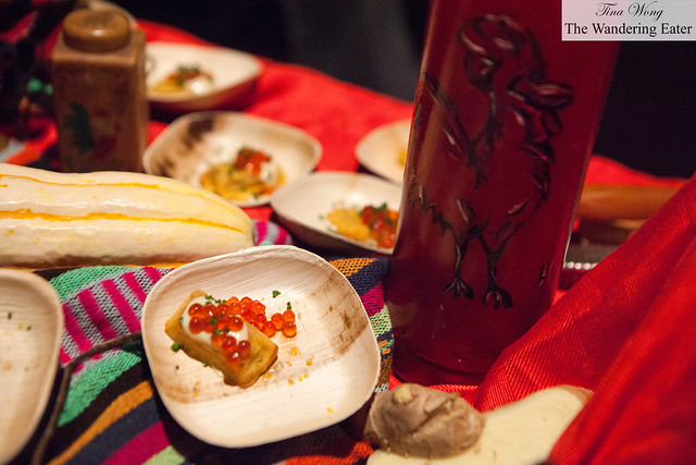 """""""Birdie cakes"""" with marinated salmon roe and jerk creme fraiche by Red Rooster Harlem"""