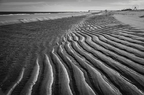 ocean sea blackandwhite bw beach nature water pool lines md sand tide maryland atlantic offseason oceancity seashore ocmd