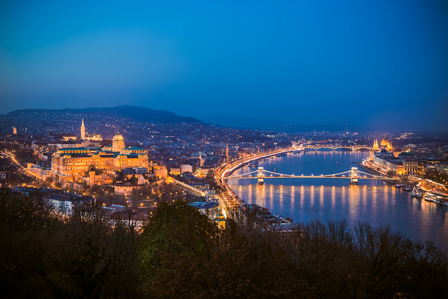 View of Budapest from Gellert hill at blue hour