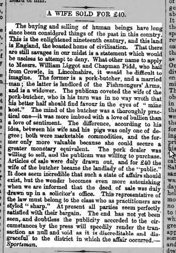 Leicester Chronicle - Saturday 20th January 1877 - Fishmonger Wife Sale