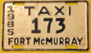 FORT McMURRAY, ALBERTA 1985 ---TAXI PLATE SUPPLEMENTAL