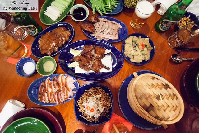 Our spread of food with the sliced Peking duck