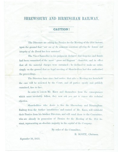 Shrewsbury and Birmingham Railway Notice of Directors dispute 1853   by ian.dinmore