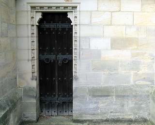 The priest's doorway, the Church of Christ the Consoler, Skelton-on-Ure, North Yorkshire, England
