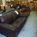 3 seater brown leatherette sofa