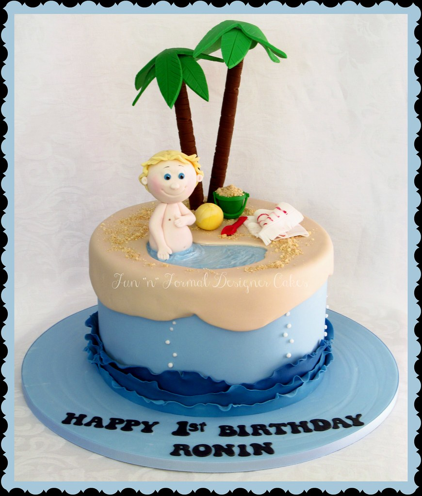 Magnificent Beach Themed Birthday Cake A Photo On Flickriver Funny Birthday Cards Online Inifofree Goldxyz