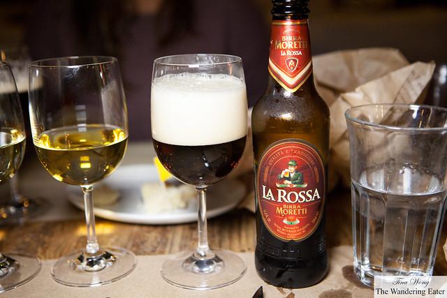 La Rossa Birra Moretti wine to pair with the steak dish