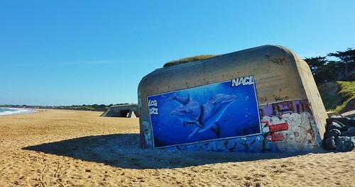 Ile de Ré, graffiti sur blockhaus, conche des baleines