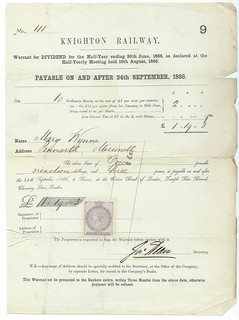 Knighton Railway dividend warrant 1866 | by ian.dinmore