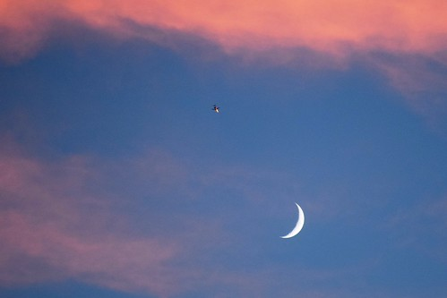 sunset moon airplane northcarolina