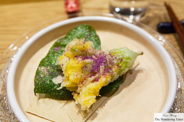 Tempura of towel squash stuffed with shrimp and uni, towel squash leaf dusted with ube powder
