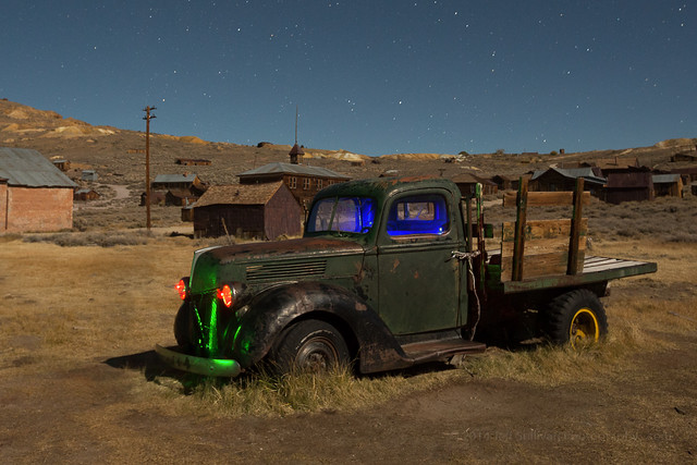 Bodie's Green Truck at Night