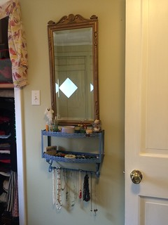 "The new little dressing ""table"" I assembled from a couple of found things. 