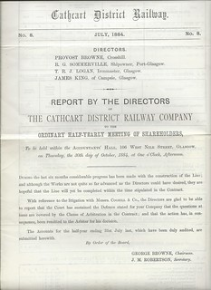 Cathcart District Railway Directors Report 1884 | by ian.dinmore