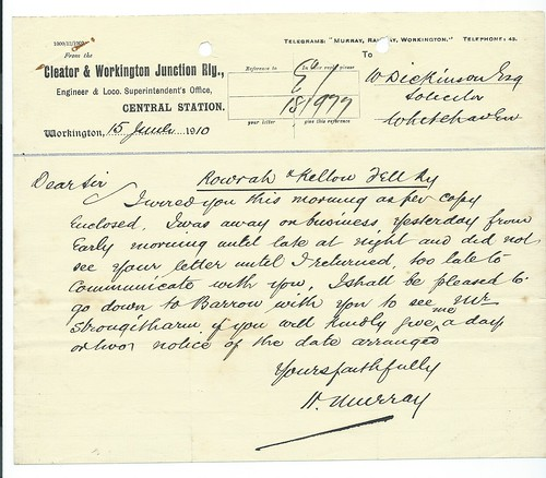 Cleator & Workington Railway memo re Rowrah & Kelton Fell Mineral Railway 1910   by ian.dinmore