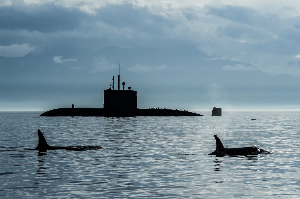 HMCS Chicoutimi on Sea Trials plus orcas