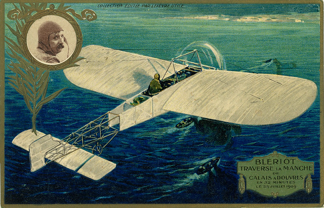 Louis Blériot in flight crossing the Channel with the white cliffs of Dover in sight [25 July 1909]