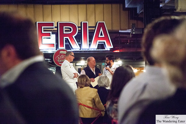 Looking down to see Chefs Mark Ladner, Mario Batali and Luciano Monosilo talking about their dishes