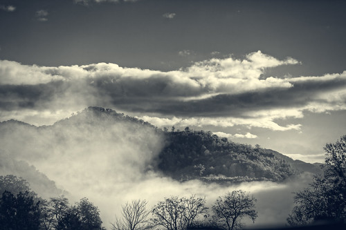 bw mountain fog clouds