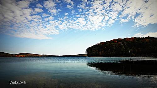 autumn sky lake fall water silhouette clouds newjersey nj reservoir jersey raritanvalley carolynlandi theredmillmuseumandvillage