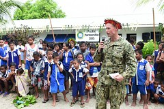 Commodore, Task Force Forager, Capt. James Meyer, delivers a speech during a ribbon cutting ceremony June 16 at Bikenibeu Primary School.