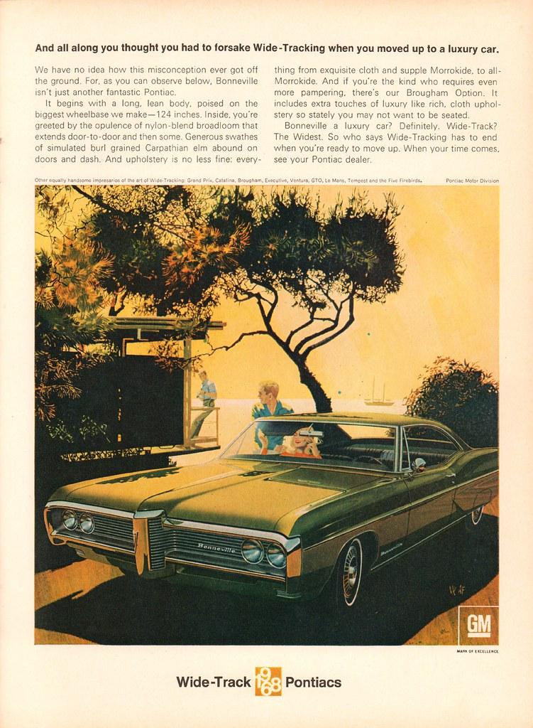 VINTAGE AD 1968 PONTIAC BONNEVILLE Convertible Car Art