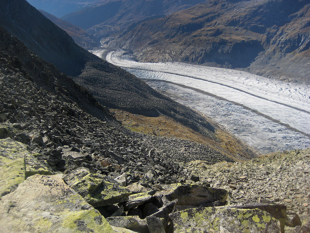 The glacier of the Aletch, Taken from the Eggishorn . Vue du glacier d'Aletsch depuis l'Eggishorn .   No. 9535.