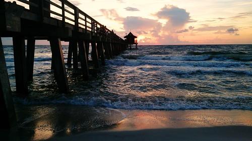 sunset sea sky usa beach coast pier gulf florida naples