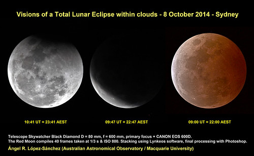 Visions of a Total Lunar Eclipse within clouds - 8 October 2014 - Sydney