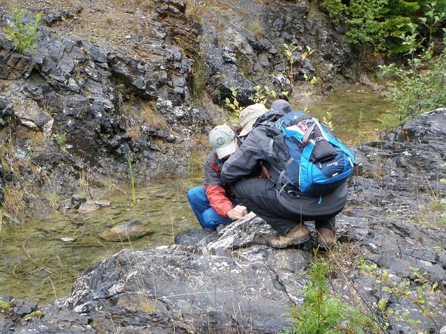 Checking karstic rocks at Horne Lake outflow