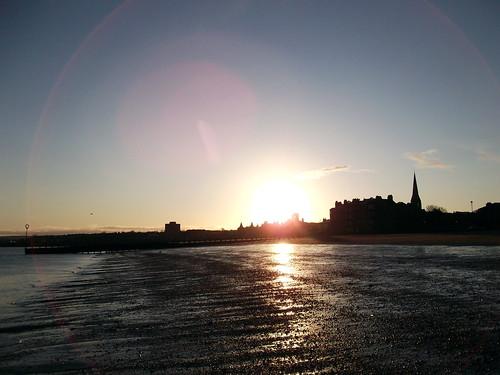 schottland scotland edinburgh grosbritannien greatbritan unitedkingdom portobellobeach portobello beach outdoor himmel sonnenaufgang sunrise küste coast ufer meer sky sonne sun